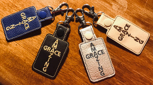 Digital Embroidery File:  Amazing Grace Key Fob, Snap Tab