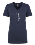 "Ladies V-neck Indigo T-Shirt, ""Faith"""
