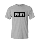 PRAY t-shirt, gray with black design