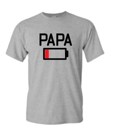 Papa Low Battery Grey T-shirt