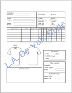Custom T-shirt Order Form (Unbranded)