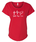 Ladies Dolman Style Red T-Shirt with Faith - Hope - Love Design