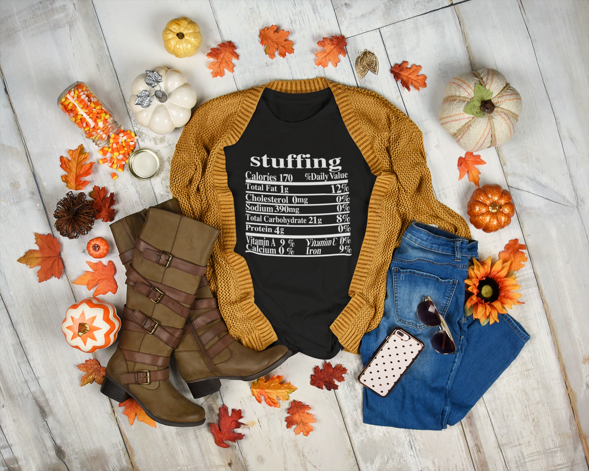 Stuffing Nutrition Label, Fall, Autumn, Thanksgiving Holiday T-shirt