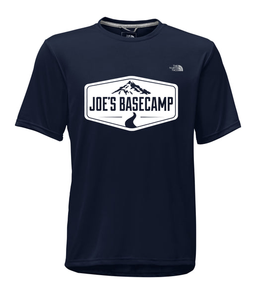 MEN'S NORTH FACE MOUNTAIN ATHLETIC SHORT-SLEEVE WORKOUT TEE SHIRT with JOE'S BASECAMP DESIGN (DARK NAVY)