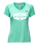 WOMEN'S NORTH FACE MOUNTAIN ATHLETIC SHORT-SLEEVE V - NECK WORKOUT TEE SHIRT with JOE'S BASECAMP DESIGN (ICE GREEN)