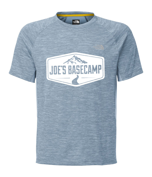 MEN'S NORTH FACE MOUNTAIN ATHLETIC ULTRA LIGHTWEIGHT RUNNING TEE SHIRT with JOE'S BASECAMP DESIGN (BLUE)