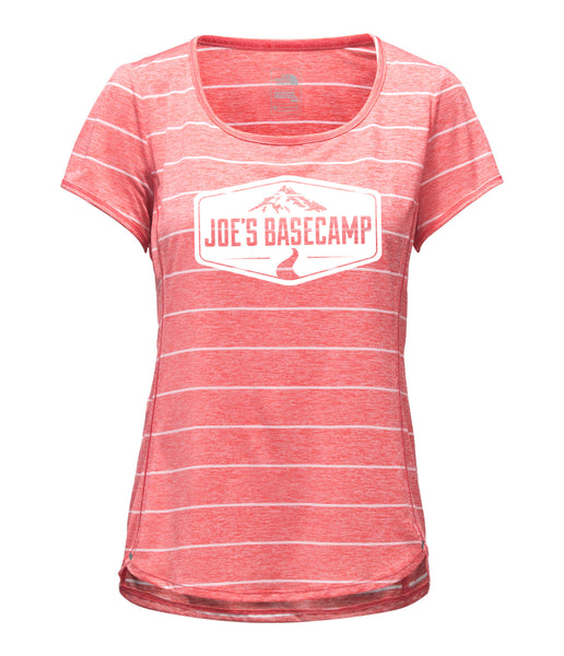 WOMEN'S NORTH FACE MOUNTAIN ATHLETIC WORKOUT TEE SHIRT with JOE'S BASECAMP DESIGN (CALYPSO CORAL)