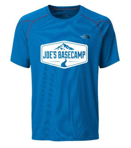 MEN'S NORTH FACE MOUNTAIN ATHLETIC HYBRID PERFORMANCE TEE SHIRT with JOE'S BASECAMP DESIGN - HYPER BLUE
