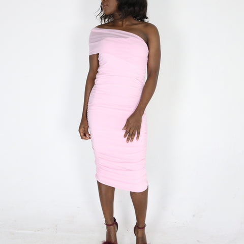 Elise 'monostrap ruched' Dress