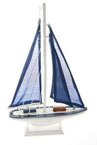 "JustNile Wooden Replica Sailboat Model - 12"" X 8"" Navy Blue Sail"