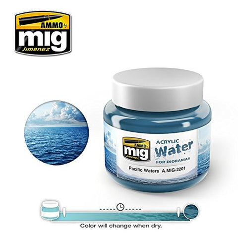 Ammo of Mig Jimenez Pacific Waters - Acrylic Simulating Water 250mL Jar #2201