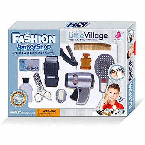 WPS Play Accessories Barber Shop Salon Hairstyle Play Set Kit with Clipper for Boy Kids Gift B
