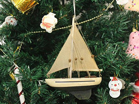Wooden By The Sea Model Sailboat Christmas Tree Ornament - Christmas Decor - Na