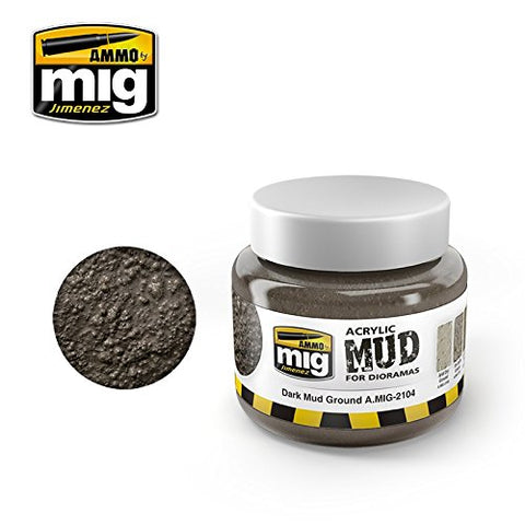 Ammo of Mig Jimenez Dark Mud Ground - Acrylic Mud 250mL Jar #2104