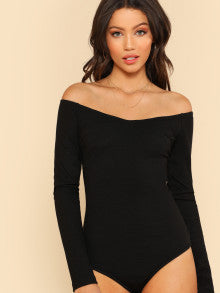 V Neck Bardot Bodysuit