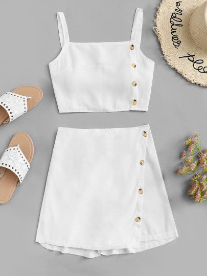 White Button Side Crop Cami Top With Shorts Set