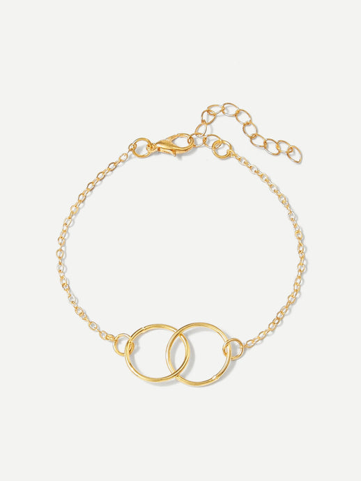 Link Ring Detail Chain Bracelet