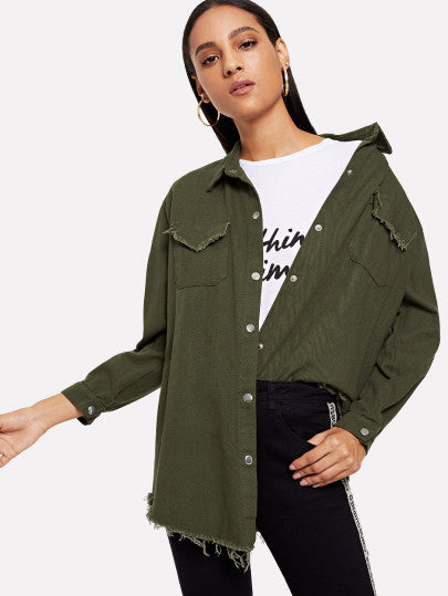 Dual Pocket Raw Hem Coat
