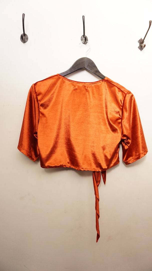 Jane Doe Exclusive Velvet Tie Top - Burnt Orange