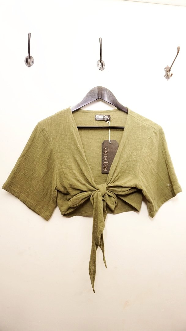 Jane Doe Exclusive Tie Top - Olive