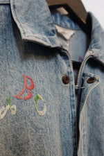 Vintage Embroidered Light Wash Denim Vest