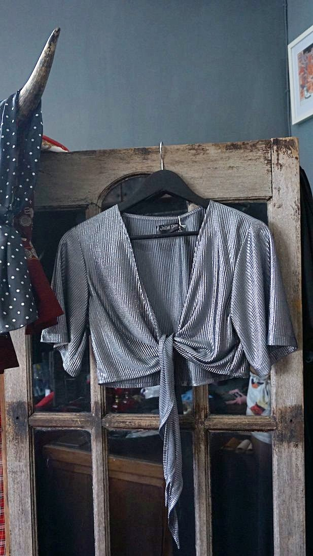 Jane Doe Exclusive Tie Top - Silver Shimmer