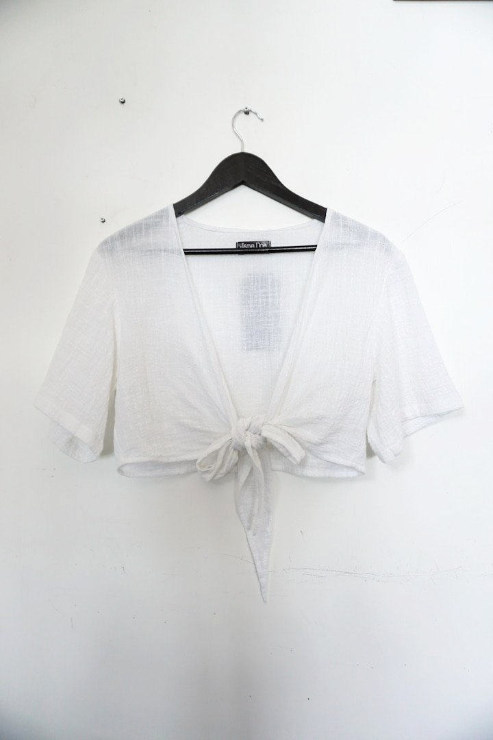 Jane Doe Exclusive Tie Top - White
