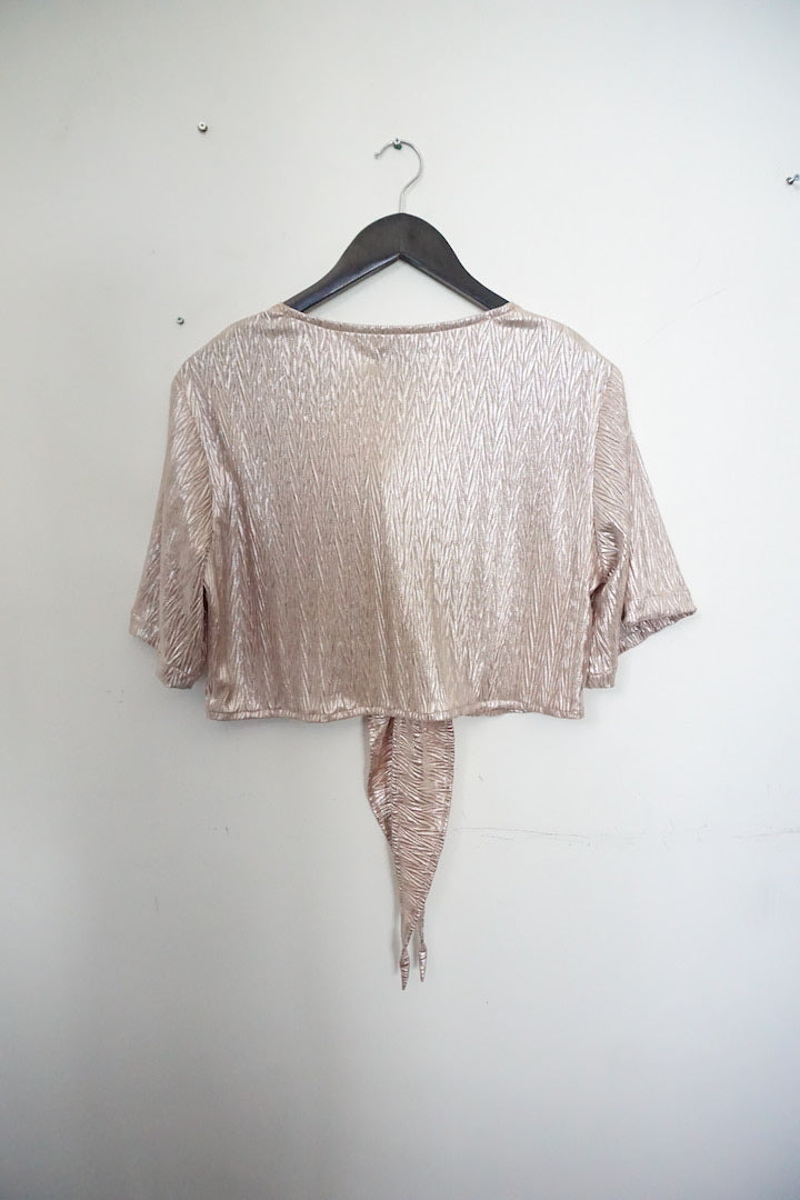 Jane Doe Exclusive Tie Top - Gold Shimmer