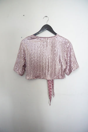 Jane Doe Exclusive Tie Top - Pink Shimmer