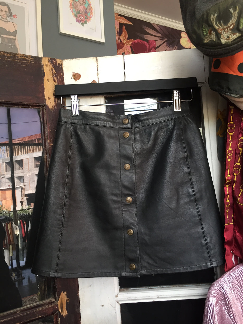Button Black Leather Skirt