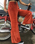 Jane Doe Exclusive Velvet Flare Pants - Burnt Orange