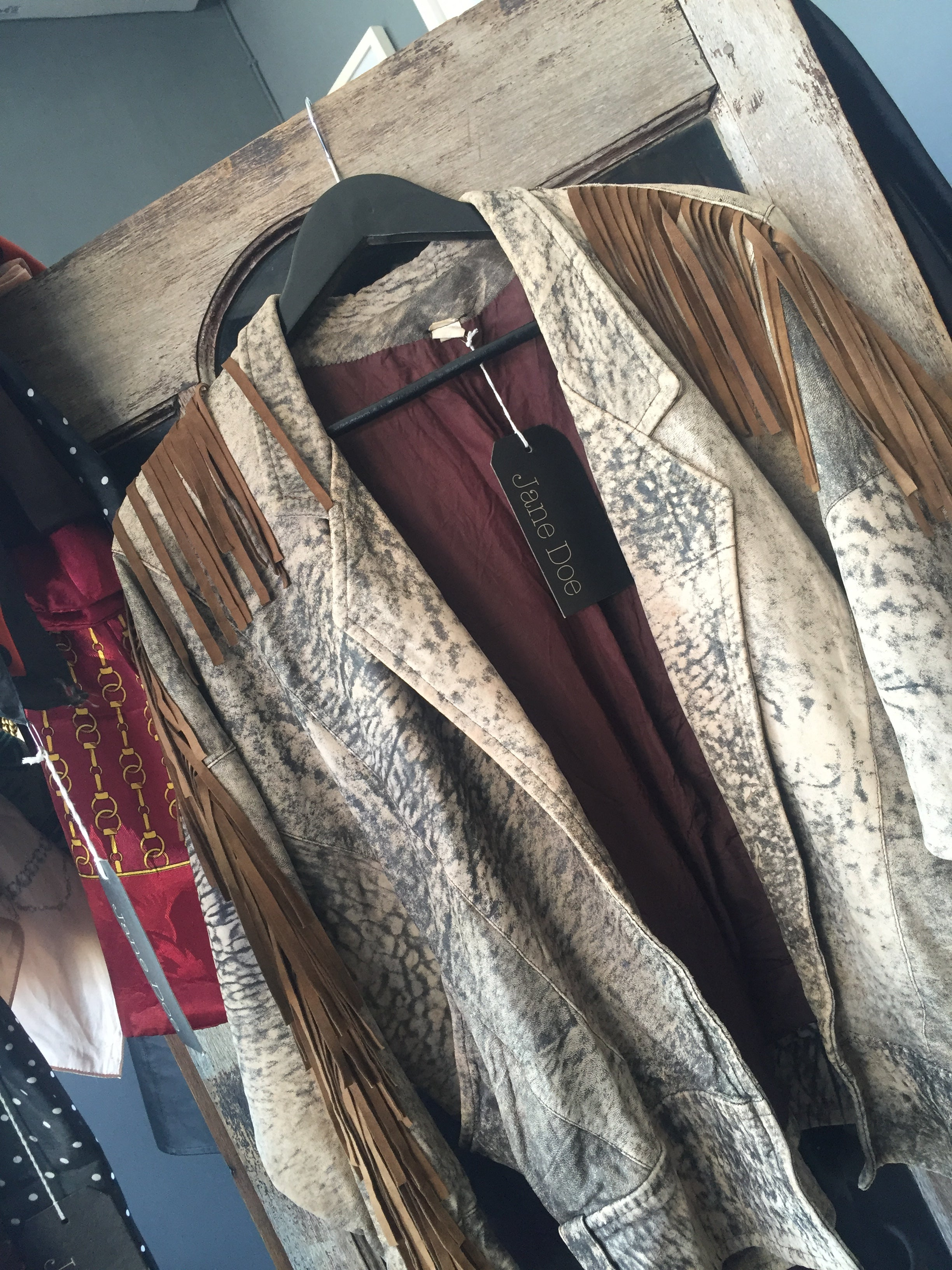 Vtg Effect Light Brown Leather Jacket with Fringe