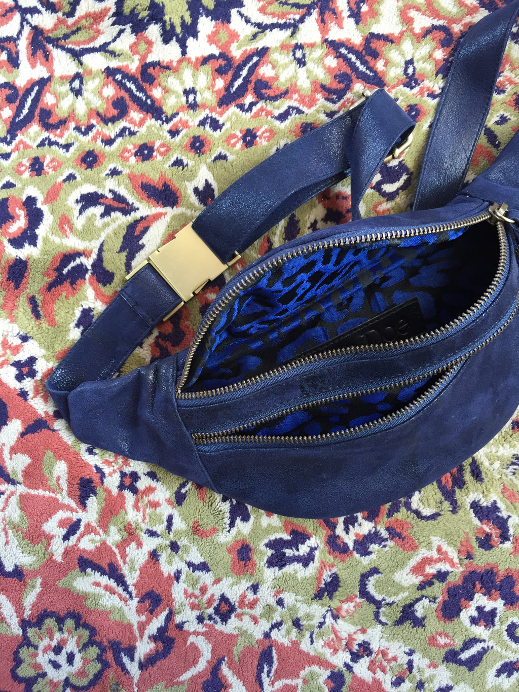Leather Bum Bag - Navy Leopard