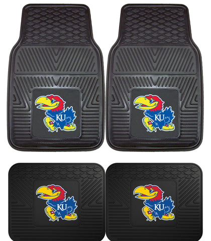Kansas Jayhawks Heavy Duty Vinyl Floor Mats 4 Piece Set for Cars Trucks and SUV's