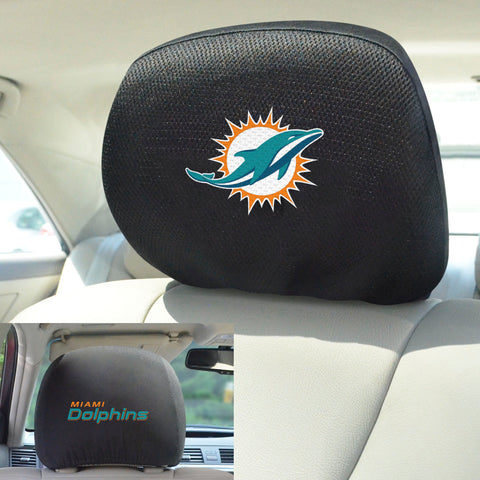 NFL - Miami Dolphins Head Rest Covers with Embroidered Logos