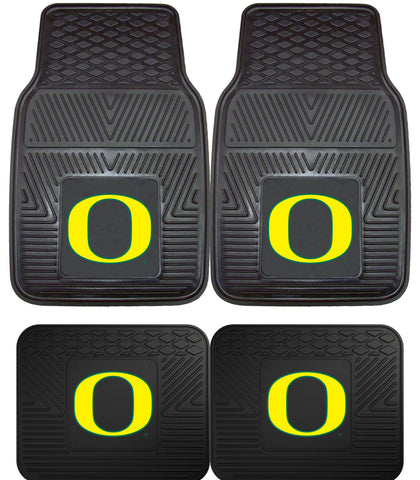 Oregon Ducks Heavy Duty Vinyl Floor Mats 4 Piece Set for Cars Trucks and SUV's