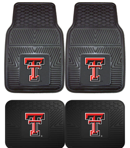 Texas Tech Red Raiders Heavy Duty Vinyl Floor Mats 4 Piece Set for Cars Trucks and SUV's