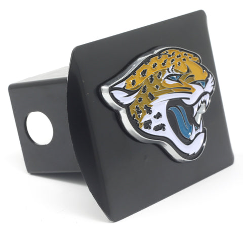 NFL - Jacksonville Jaguars Black Metal Hitch Cover with Chrome Color 3D Emblem