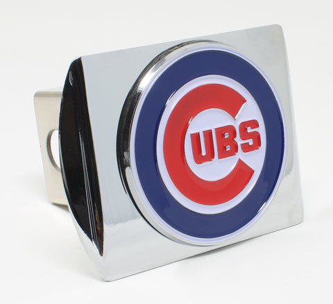 Chicago Cubs Chrome Metal Hitch Cover with Color Emblem