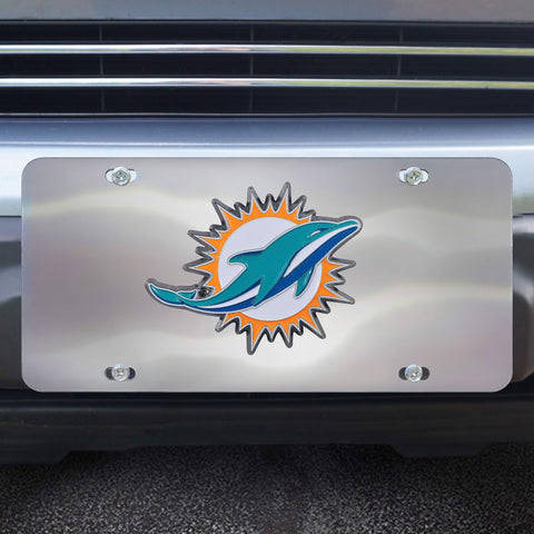 Miami Dolphins Stainless Steel Diecast License Plate