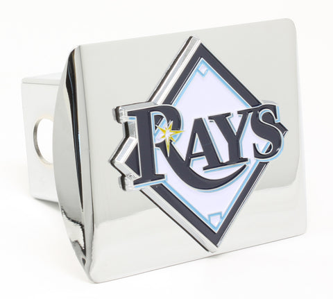 Tampa Bay Rays Chrome Metal Hitch Cover with Color Emblem