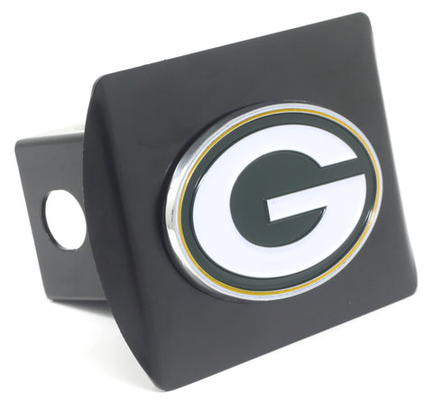 NFL - Green Bay Packers Black Metal Hitch Cover with Chrome Color 3D Emblem