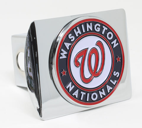 Washington Nationals Chrome Metal Hitch Cover with Color Emblem