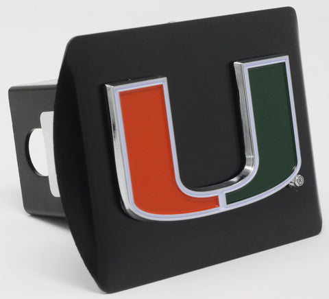 "Miami Hurricanes Color Metal Hitch Black 3.4""x4"""