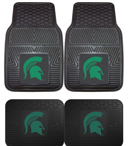 Michigan State Spartans Heavy Duty 4 Piece Floor Mat Set for Cars Trucks and SUV's