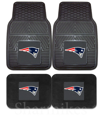 New England Patriots 2 and 4 Piece Car Floor Mat Sets