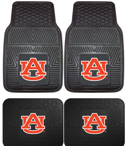 Auburn Tigers 4 Piece Heavy Duty VInyl Floor Mats 4 Piece Set for Cars Trucks and SUV's