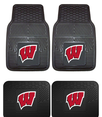 Wisconsin Badgers Heavy Duty Vinyl Floor Mats 4 Piece Set for Cars Trucks and SUV's