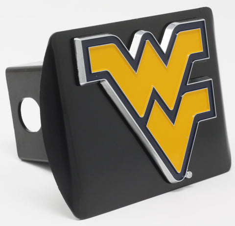 "West Virginia University Color Metal Hitch Black 3.4""x4"""