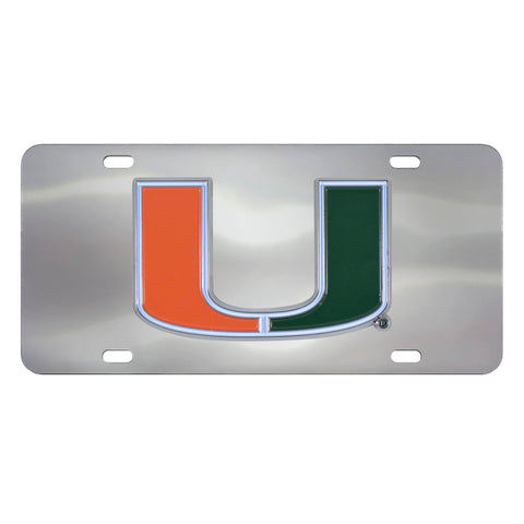 Miami Hurricanes Stainless Steel Diecast License Plate